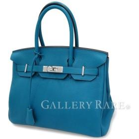エルメス バーキン30 cm ハンドバッグ ブルーイズミール×シルバー金具 トゴ Q刻印 HERMES Birkin バッグ