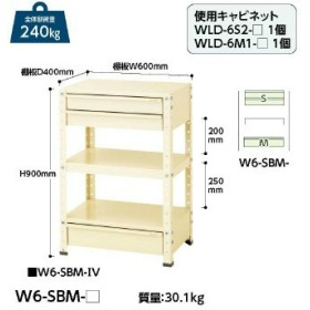 【直送品】 山金工業 ヤマテック ワゴン W6-SBM-IV 【法人向け、個人宅配送不可】