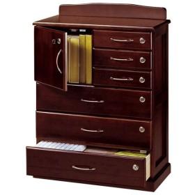 リビングチェスト 「全段鍵付き家具シリーズ」 木製 幅62cm×奥行32cm×高さ85cm