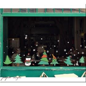 クリスマス ガラスフィルム ウォールステッカー D クリスマスステッカー インテリアシール クリスマスツリー 壁紙 窓