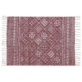 ラグマット/絨毯 〔70cm×50cm レッド〕 長方形 コットン製 裏面:スベリ止め加工 TTR-118RD