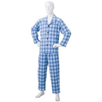 きほんのパジャマ(寝巻き) 〔紳士用 L〕 綿100% マジックテープ付き ズボン/前開き (介護用品) ブルー(青)