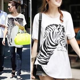 メール便のみ送料無料2 ゼブラデザインTシャツワンピース Tシャツ 半袖 カットソー トップス ドルマンスリーブ