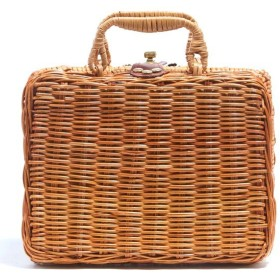 ランチボックス仕様 カゴ素材 スーツケース型 ミニハンドバッグ
