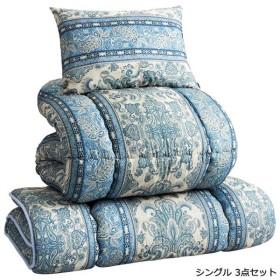 抗菌/防臭/防ダニ/吸汗速乾布団セット 〔シングル/3点セット ブルー〕 オールシーズン対応 枕付き 日本製