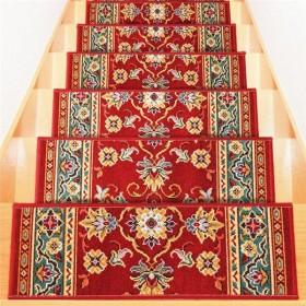 ベルギー製 階段マット(はつ油・はっ水加工) 〔13枚組〕 レッド