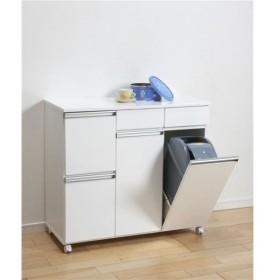 ダストボックス/蓋付きゴミ箱 〔2分別 引き出し収納付き〕 幅82cm キャスター付き ホワイト(白) 〔完成品〕