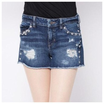 ゲス GUESS STUDDED SKINNY DENIM SHORT (DARK WASH)