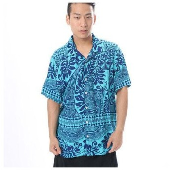 【Kahiko】トライバルタパMEN'Sアロハシャツ ネイビー
