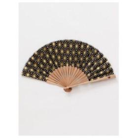 【カヤ】紳士用 金線麻の葉扇子 袋付き ネイビー