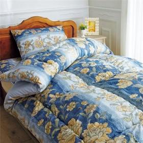 羊毛入り抗菌/防臭/防ダニ布団セット 〔ダブルサイズ/4点セット〕 ブルー 枕付き 日本製