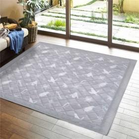 冷感キルトラグ/絨毯 〔グレー 約185×240cm〕 洗える 接触涼感 ホットカーペット 床暖房対応 『アイス』 〔リビング〕