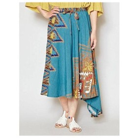 【チャイハネ】アフリカン柄アシンメトリースカート ターコイズブルー