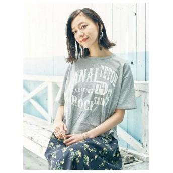 アースミュージックアンドエコロジー earth music&ecology リメイクグラフィックアシメTシャツ (Light Gray Mixture