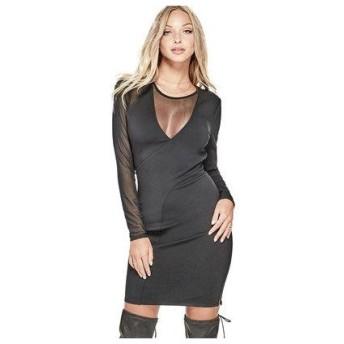 ゲス GUESS NYLA MESH DRESS (JET BLACK)