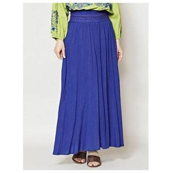 【チャイハネ】yul 刺繍入りシンプルロングスカート ブルー