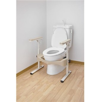 アロン化成 トイレ用手すり 洋式トイレフレームSハネアゲR-2(2)プラスチック製ヒジ掛 533-086