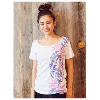 【kahiko】ティアレ&ホヌ フライスTシャツMサイズ ホワイト