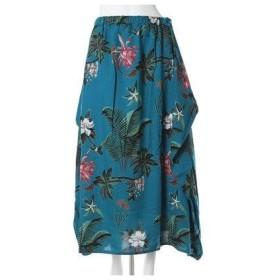 【チャイハネ】ボタニカルプリントスカート ターコイズブルー