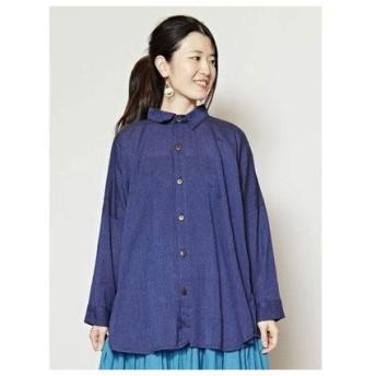 【チャイハネ】yul ネパールコットンシンプルシャツ ネイビー