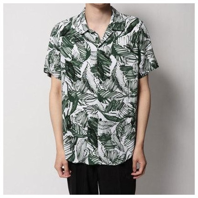 ゲス GUESS PALM MARKER PRINT S/S SHIRT (PALM MARKER PRINT GREEN)