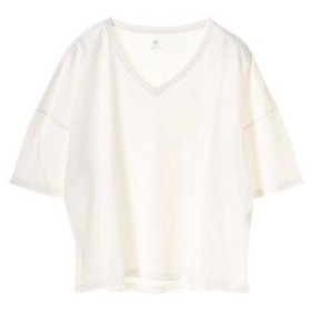 アースミュージックアンドエコロジー earth music&ecology 5分袖VネックTシャツ (Off White)