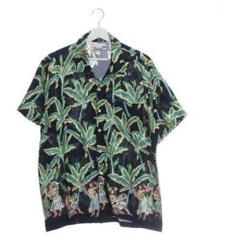 【Kahiko】バナナリーフ&フラガール MEN'Sアロハシャツ ネイビー