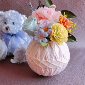 可愛いピンクの手毬陶器のプリザーブドフラワーお供えアレンジ