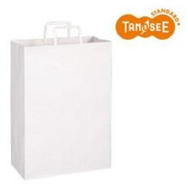 (まとめ)TANOSEE 手提袋 平紐 白無地・特大 30枚入×10パック