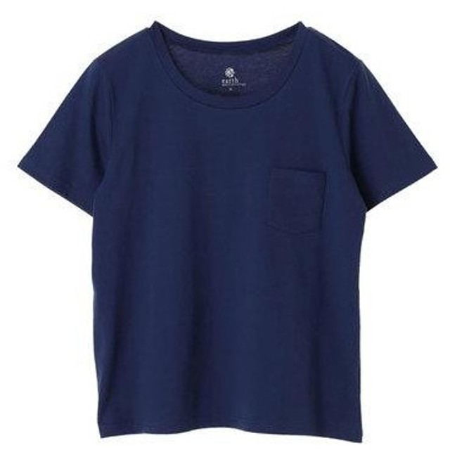 アースミュージックアンドエコロジー earth music&ecology ベーシッククルーネックTシャツ (Blue)