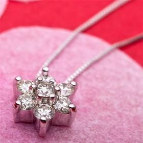 ダイヤモンド ネックレス 0.3ct K18 ホワイトゴールド 0.3カラット 花 フラワーモチーフ ペンダント 鑑別カード付き