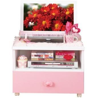 可愛い テレビ台/テレビボード 〔ピンク 幅60cm〕 家電収納可 キャスター付き 『リボン家具』