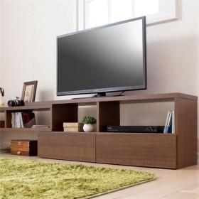 伸縮できるおしゃれなテレビ台/テレビボード 〔幅90cm ブラウン〕 引き出し収納付き