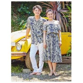 【Kahiko】パーム&バナナリーフMEN'Sアロハシャツ ネイビー