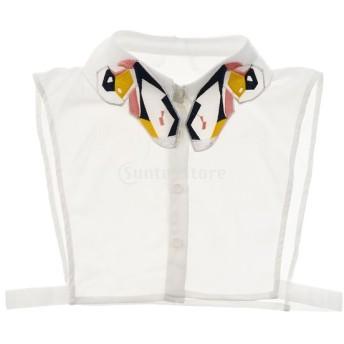 女性 偽の襟 取り外し可能 付け襟 ブラウス 刺繍 蝶