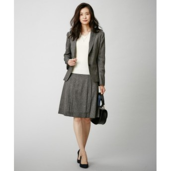 L size ONWARD(大きいサイズ) / エルサイズオンワード 【セットアップ可能】シルクネップドビーツイード スカート