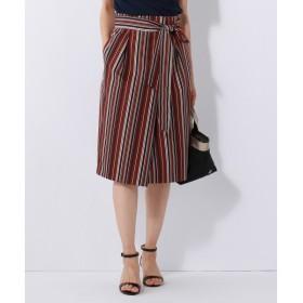 S size ONWARD(小さいサイズ) / エスサイズオンワード 【洗える】イレギュラーストライプ プリント ラップ スカート