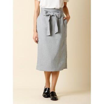 CLEAR IMPRESSION / クリアインプレッション リボンベルト付きIラインスカート