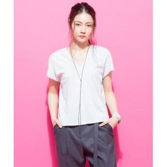 L size ONWARD(大きいサイズ) / エルサイズオンワード 【洗える】Mirano Twist Jersey Vネックカットソー