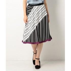 L size ONWARD(大きいサイズ) / エルサイズオンワード 【ウエストゴム】ドゥブル ジュ ストライプ スカート