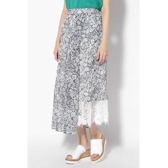 ROSE BUD / ローズ バッド イレヘムフラワープリント&レース切替えスカート
