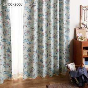 カーテンセット カーテン 安い おしゃれ ディズニー アリエル 遮光 洗える 約100×110 2枚
