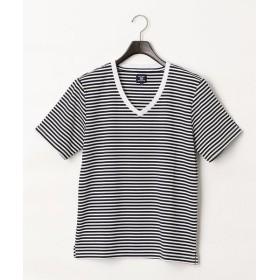 COMME CA COMMUNE / コムサコミューン Vネック ボーダー Tシャツ