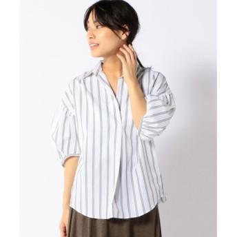 SHIPS for women / シップスウィメン ギャザースリーブストライプビッグシャツ-0762