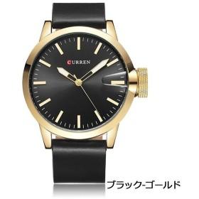 186557957f CUEEEN 腕時計 メンズ オシャレ シンプル アナログ バーインデックス 30M防水 レザーベルト クォーツ ブラック ゴールド