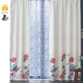 カーテン カーテン ベルメゾン パネル柄の遮光カーテン 2枚 約100×110