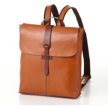 バッグ カバン 鞄 レディース リュック ヌメ革ベルトがアクセントレザーリュックサック カラー キャメル