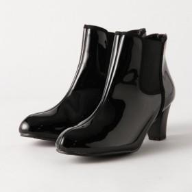 ブーツ レディース ショート 甲高幅広/外反母趾ぎみにも履きやすいレイン対応サイドゴアショートブーツ ブラック エナメル 22.5 23 23.5 24 24.5 25