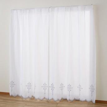 ベルメゾン 刺繍スカラップのUVカット・遮像ボイルカーテン