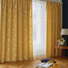 カーテン カーテン ミニラボ 立体的な刺繍のカーテン 約100×90 2枚 約100×110 2枚